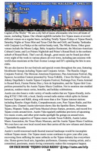 Published in the April 2013 issue of Tejano Gold Radio the Magazine